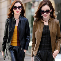 Leather leather Women Short Jacket spring and autumn new motorcycle leisure collar slim slim pocket leather jacket