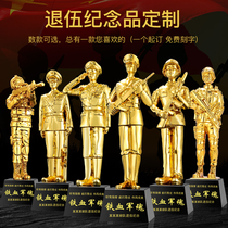 Veterans memorial gifts to the comrades veterans of the army brigade 81 veterans resin to leave a small gold man trophy.