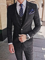 Suit Suit mens business casual three-piece suit business suit groom wedding dress Korean slim plaid suit