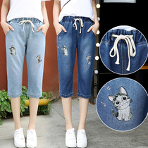 New Summer Junior High School students loose denim pants trousers 12-year-old elastic waist 14 large children straight 16