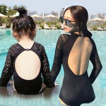Korean version of the ins fashion tide lace halter girl mother one-piece swimsuit parent-child mother and daughter net red with the swimsuit