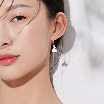 Ginkgo leaves pure silver ear female Korean version of the long temperament earrings net Red small fresh earrings 2019 new tide earrings