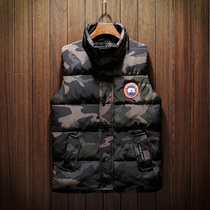 Mens cotton vest winter wear short camouflage autumn and winter down cotton clothing trend Korean youth thickening vest
