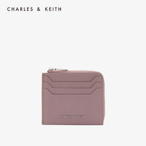 CHARLES & KEITH2019 autumn new ck6-30770417-1 solid color simple zipper card wallet wallet