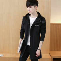 XS small size student slim spring and autumn clothes mens windbreaker youth trend hooded handsome jacket coat hair stylist