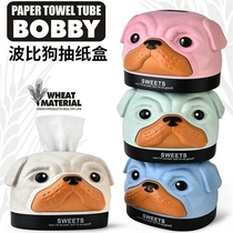 Creative cartoon tissue box roll paper napkin storage box home desktop pumping paper box living room coffee table paper pumping box