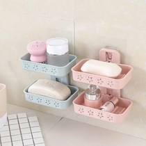 Sucker soap box wall hanging perforated drain soap box electrostatic paste double laundry soap holder free bathroom