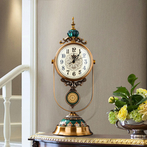 European-style clock home living room clock fashion retro clock ornaments creative desktop pendulum clock American desk clock