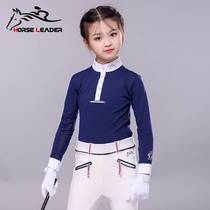 。 Childrens equestrian clothing spring and summer thin equestrian equestrian competition lap long-sleeved T-shirt female equestrian equipment equestrian supplies