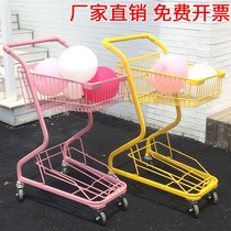 Pink double-decker supermarket shopping cart shopping cart home KTV small trolley photo props net red shop decoration Japanese