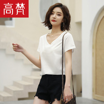 Gao Vatican 2019 summer new womens simple white cotton comfortable short-sleeved V-neck T-shirt blouse bottoming shirt female