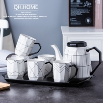 Qianhui home Diamond ceramic water set home cold water pot suite living room tea cup heat-resistant large teapot