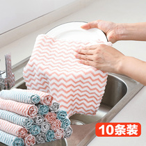 Kitchen rag wash dishes wipe table cloth thick absorbent water do not get oil do not shed hair house cleaning dishes square towel