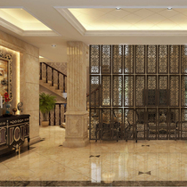 European pastoral wooden screen partition wall living room decorative hollow carved hanging screen modern simple hanging entrance