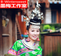 (Ink plum) Miao bird hairpin headdress costume earrings bracelet silver hat collar costumes Dong head hairpin