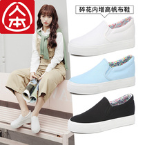 People canvas shoes female spring increased small white shoes loose cake thick bottom wild Carrefour shoes female pedal lazy shoes