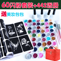 Semi-permanent painted diamond glitter sticker masonry colorful small tattoo glitter small tattoo stencil album pattern