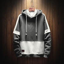 Men's spring and autumn models fat trend long-sleeved sweater loose hooded Tide brand tooling plus size plus pile coat