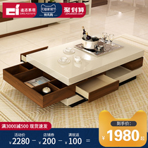 Nordic modern minimalist coffee table TV cabinet combination creative Tea Table Storage Coffee Table tempered glass light paint