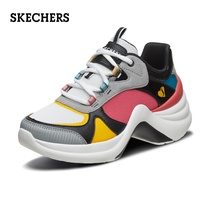 Skechers Skechers thick platform shoes sneakers old shoes hit color stitching ladies casual shoes 74190