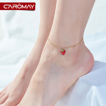 Korean cute little strawberry anklet female personality minority Design Network red foot chain students Mori Department fresh ankle jewelry