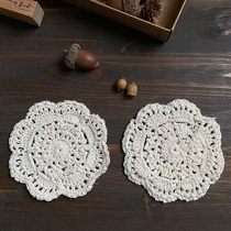 Lace handmade crochet hollow coaster Sen retro ZAKKA handle pendulum shoot photo props background