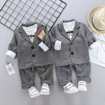 Childrens mens treasure suit mens three-piece suit 4 childrens boys  year-old dress 1-3 years old baby small suit tide spring handsome