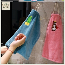Creative thick wash towel coral velvet tablecloth towel can be hung wipe hand towel does not lose hair absorbent cleaning cloth.