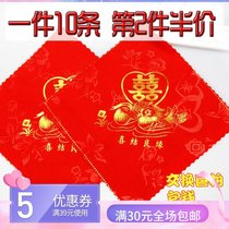 Hi handkerchief red handkerchief wedding gift for the Chinese style printing cotton gift bride red handkerchief small square wedding