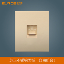 European switch socket switch panel socket panel E9 bright gold wire drawing 118 pieces telephone socket