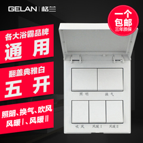 Grand Bath PA Switch 86 type Five open Flip Universal belt cover 16A bathroom toilet General switch panel
