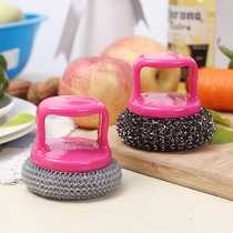 Kitchen with scrubbing pot brush with handle brush dishwasher brush pot Brush with handle steel ball 2