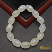 Natural goods a yellow dragon Jade ice hand string old material white transparent Oval beads chain beads beads Jade chain
