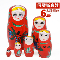 Six sets of 6-layer matryoshka tourism crafts cute doll wooden handmade painting souvenir toys