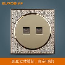 European switch socket switch socket panel switch panel A5 champagne gold two two-core phone socket