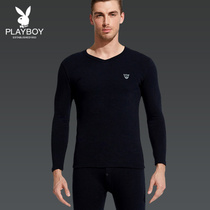 Playboy men plus velvet padded thermal underwear suit V-neck qiuyi qiuku cotton middle-aged cotton sweater winter