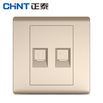 CHiNT switch socket panel NEW7D Champagne Gold telephone computer socket 86 type panel