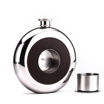Round carry outdoor portable small wine pot Russia 304 stainless steel thickened 5 ounces pie type mini