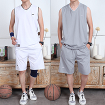 Summer large size Vest Mens cotton sports suit loose shorts running fitness sweat breathable basketball clothes