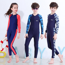 Childrens one-piece swimsuit sunscreen swimming training in large childrens swimwear boys and girls long-sleeved trousers quick-drying swimwear