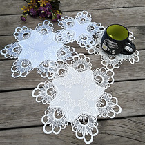 Foreign trade pastoral fabric European-American Korean-style water-soluble lace table pad pad pad Cup pad cloth vase pad