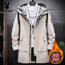 Playboy trench coat men winter long 2019 new Korean version of the trend of the tide of the brand thick section of autumn and winter jacket