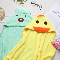 Cute childrens bathrobe swimming cape with cap bath towel soft anti-cool coral velvet water-absorbing beach towel