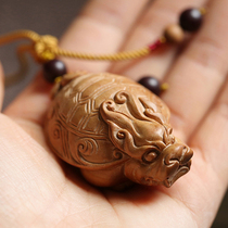 Dragon turtle India Laoshan sandalwood hand pendant sandalwood pendant animal black mahogany crafts gift 0350