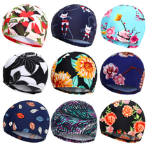 You swim swimming cap female long hair waterproof do not pull the head PU swimming cap men and women large children adult cloth swimming cap equipment