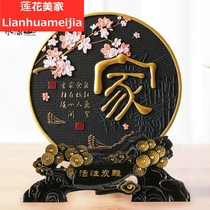 Activated charcoal carving simple home jewelry living room Xuanguan ornaments creative wine cabinet decoration crafts.