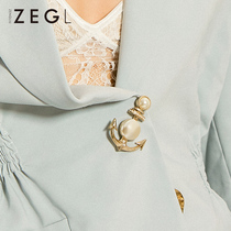 ZEGL Vintage Anchor Brooch Female court Inverness cardigan sweater jacket large pin buckle fixed clothing accessories