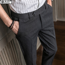 Slim spring and summer casual pants male Korean version of the trend of embroidery dress pants mens business British trousers fashion feet