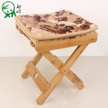 Wonderful bamboo nanzhu folding stool portable home real horse tie outdoor fishing chair small bench small stool stool