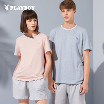 Playboy couple home wear set summer casual loose two-piece set men's short-sleeved pajamas women's summer cotton